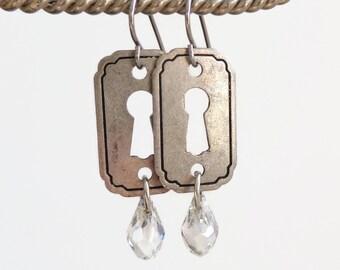 Meda -mini keyhole earrings - silver keyhole earrings - crystal earrings - charm earrings