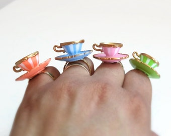 Alice Teacup Ring Your Choice - tea cup ring - mini teacup and saucer ring - alice in wonderland