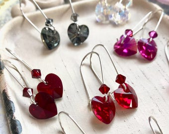 Gillian - crystal heart earrings - Valentine's Day jewelry - Swarovski - Variety of colors