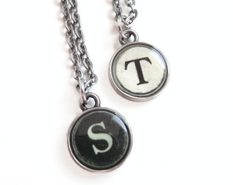 Sarah - antique Silver Typewriter Key Style Necklace - Initial Necklace - Typewriter Key Jewelry - Personalized Necklace