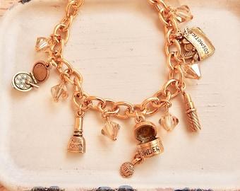 Blanche - girly makeup charm bracelet - compact charm - nail polish - beauty bracelet