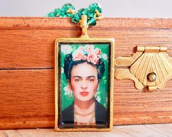 Frida - Frida Kahlo emerald crystal necklace - green necklace - swarovski crystal