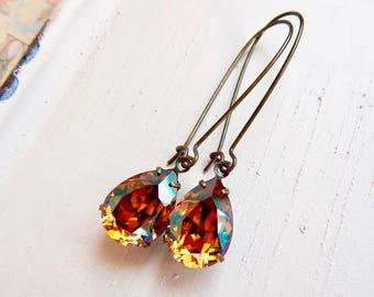 Orla - crystal copper earrings - Swarovski crystal earrings - long vintage style earrings -