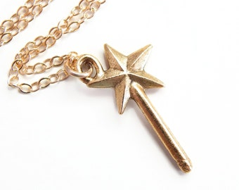 Glinda - magic wand necklace on 14k Gold fill - wand necklace - fairy godmother necklace - Godmother gift - gold wand - gold necklace
