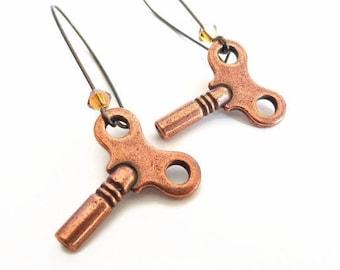 Kay - copper wind up key earrings - steampunk earrings - turnkey earrings - copper key earrings