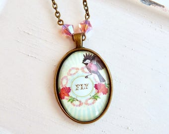 Aya - Bird charm necklace - Fly - Swarovski crystal - pink crystal - antique brass - bird necklace