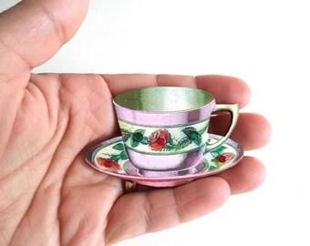 Erma - tea cup brooch - crystal brooch - teacup pin - tea accessories