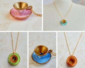 Alice in Wonderland - Tea Cup Necklace -  Miniature tea cup necklace - original Alice in Wonderland Teacup Necklace