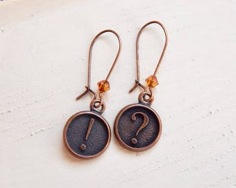 Penny - punctuation mark earrings - exclamation point - question mark - antique copper earrings