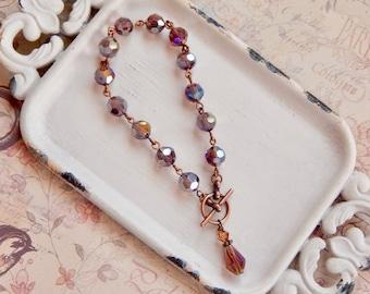 Arlena - purple crystal toggle bracelet - purple bracelet - charm bracelet - antique copper bracelet
