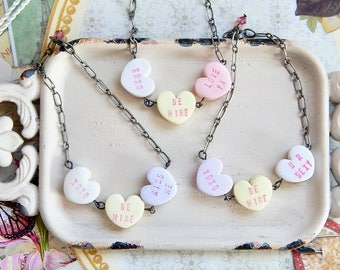Conversation heart bracelet - Valentine's Day jewelery - candy hearts - conversation hearts
