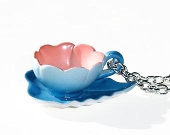 Belle - miniature Fairyland Tea Cup Necklace - Flower Tea Cup - blue bell - blue flower teacup - spring jewelry