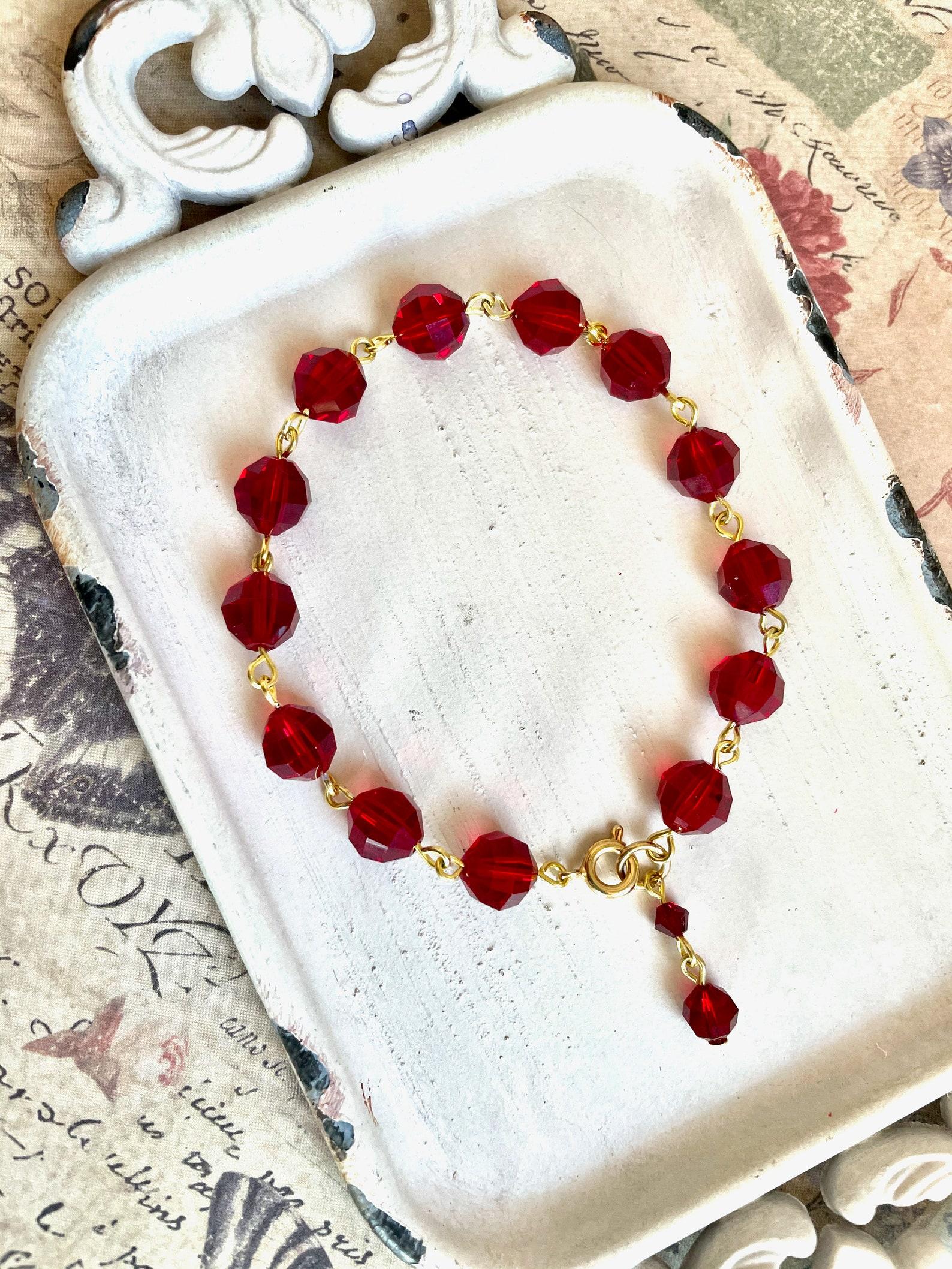 Lola bracciale in cristallo vintage rosso cristallo | Etsy
