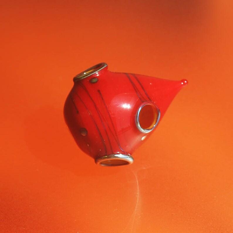 Silver Red Whosit Handmade Lampwork Hollow Bead SRA