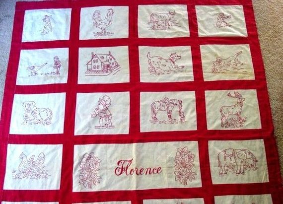 Florence Vintage Redwork Embroidery Quilt Pattern Hand Etsy