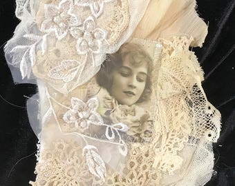 Shabby Chic Embellished Tag, Mini Art Quilt, Collage with Vintage Laces, wedding lace, brides fabric, antique lace, gift for her