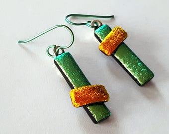 Dichroic Glass Earrings, Asymmetrical Earrings, Lime Green Earrings, Niobium Earrings, Fused Glass Jewelry, Leverback Option, Made in USA