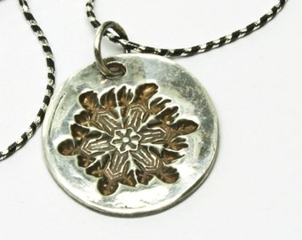 Snowflake Necklace, Sterling Silver Necklace, Snowflake Pendant, Metal Clay Jewelry, Nature Inspired, Winter Snow Flake, Handmade in USA