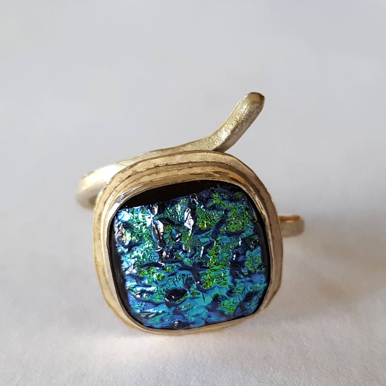 Sterling Silver Ring Wrap Around Ring Dichroic Glass image 0