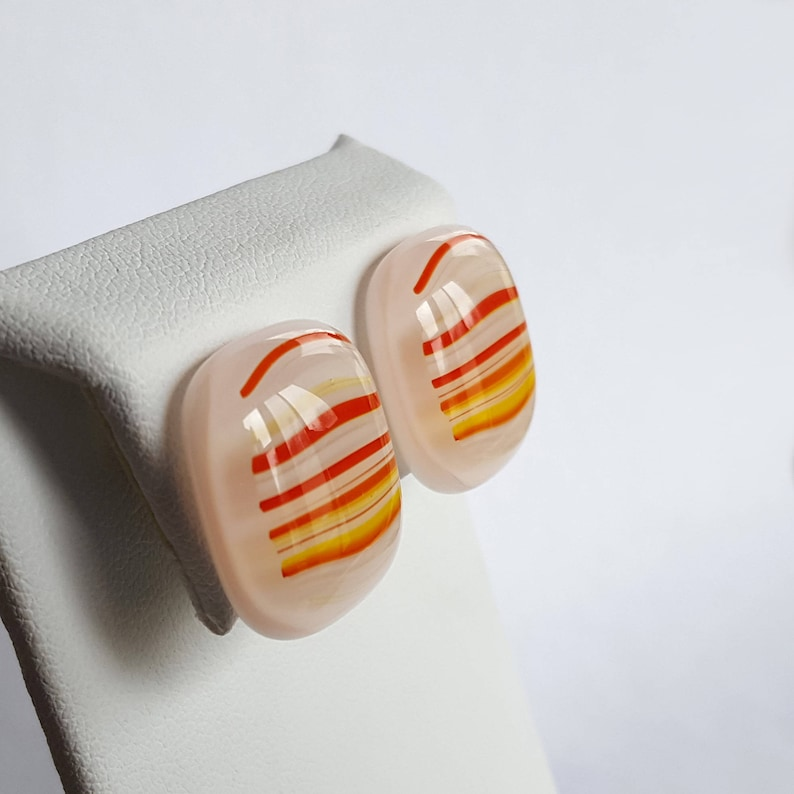 Clip On Earrings Fused Glass Jewelry Orange and Yellow image 0