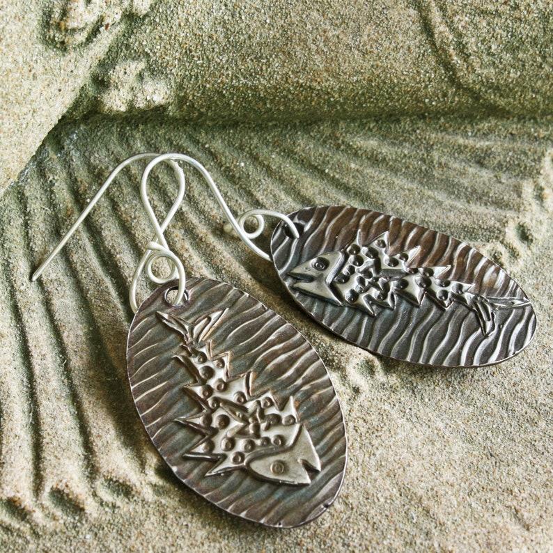 Fish Bone Earrings Sterling Silver Funky Earrings Artsy image 0
