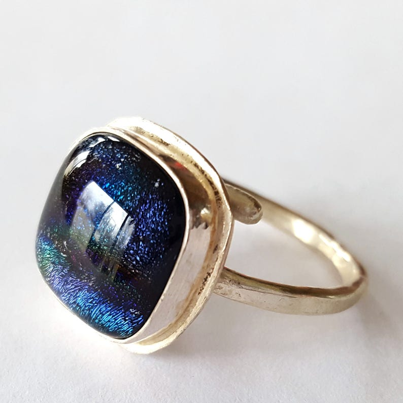 Sterling Silver Ring Dichroic Glass Jewelry Blue Ring image 0