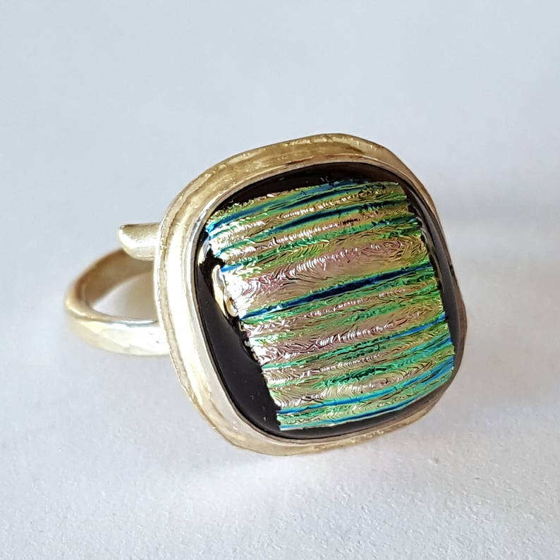Sterling Silver Ring Dichroic Glass Jewelry Wrap Around image 0