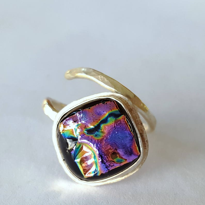 Dichroic Ring Sterling Silver Ring Dichroic Glass Jewelry image 0