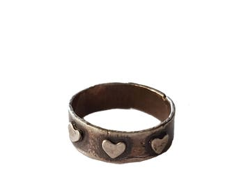 Sterling Heart Ring, Sterling Silver Ring, Rustic Ring, Boho Ring, Minimalist Ring, Heart Jewelry, Metal Clay Jewelry, Made in USA