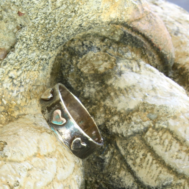 Sterling Silver Ring Metal Clay Jewelry Rustic Ring Sterling Heart Ring Heart Jewelry Boho Ring Minimalist Ring Made in USA