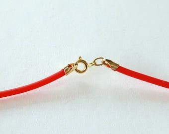 """Red Cord Necklace, Rubber Cord Necklace, Rubber Cord 2mm, Interchangeable, Gold Filled Clalsp, Red and Gold, 16"""" 18"""" 20"""" 22"""" 24"""" Made in USA"""