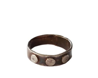 Sterling Silver Ring, Dot Ring, Circle Ring, Rustic Ring,  Moon Ring, Boho Ring, Metal Clay Ring, Metal Clay Jewelry, Made in USA