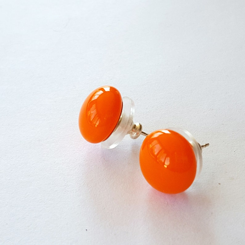 Orange Stud Earrings Post Earrings Fused Glass Jewelry image 0