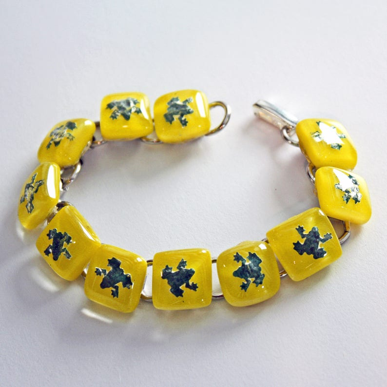 Frog bracelet Fused Glass Jewelry Animal Bracelet Link image 0