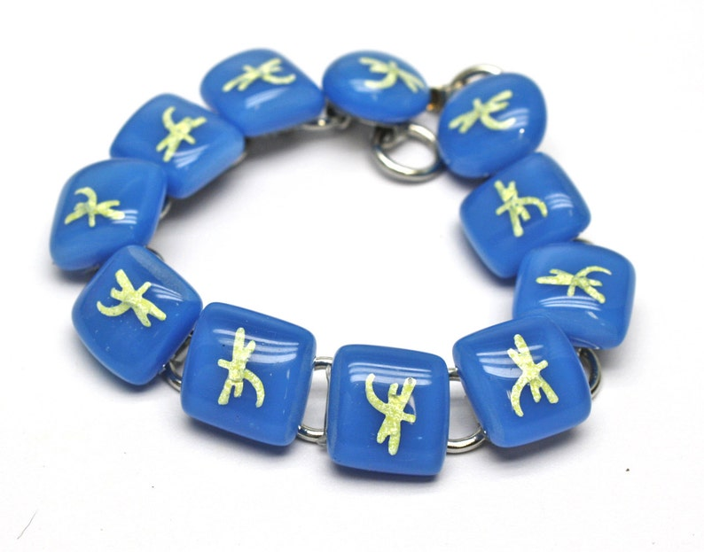 Dragonfly Bracelet Blue and Yellow Fused Glass Links Animal image 0