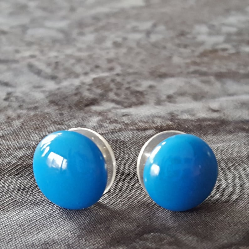 Blue Stud Earrings Sterling Silver Posts Fused Glass image 0