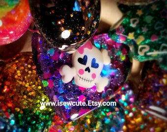 Huge Goth Sparkly Purple Glitter Resin Heart Skull Ring Cute Skull & Crossbones, Truly Big Unique Bling, Made in the USA by isewcute