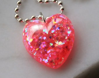 Heart Necklace, Resin Jewelry, Jewelry by isewcute, Pink Heart Necklace, Heart Jewelry Kids, Resin Pendant, Kids Necklace, Girl Gift for Her