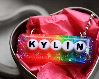 Girls Name Necklace, Personalized Custom Girl Name Jewelry, Rainbow Glitter Resin Monogram Pendant Name Necklace... handmade by isewcute