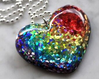 Rainbow Necklace, Resin Jewelry, Bright Colorful Glitter Resin Jewelry, Big Heart Resin Pendant Intense ROYGBV Colorful, Handmade isewcute