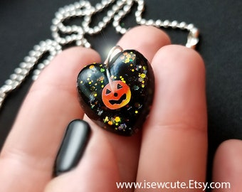 Kids Halloween Jewelry Pumpkin Jack o' Lantern Necklace Boy or Girl, Small Halloween Heart Charm Pendant Necklace for Age 5 & Up by isewcute