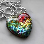 Rainbow Heart Necklace, Rainbow Resin Pendant, ROYGBIV Necklace, Colorful Spectrum Necklace, Sparkly Rainbow  Pendant, Handmade by isewcute