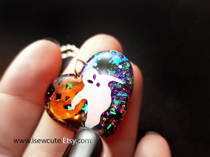 Halloween Necklace for Girl Small Ghost Heart Charm Pendant image 0