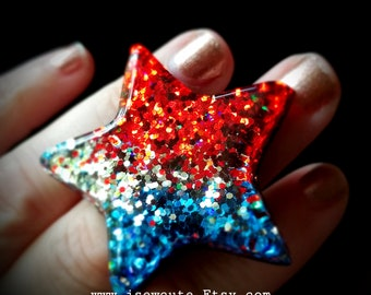 Giant Over the Top Large Star Ring, Red Blue Silvery White Sparkle Star Ring, Patriotic July 4th Inspired Made in the USA by isewcute