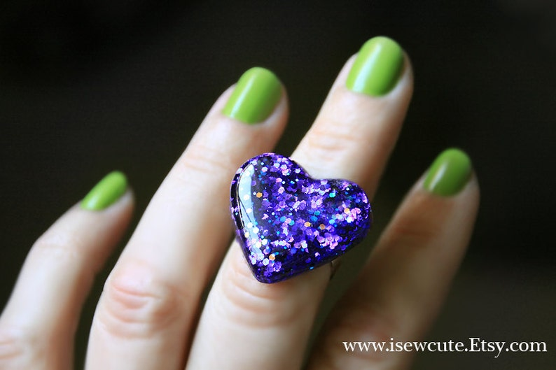 Heart Ring Cute Resin Ring Purple Glitter Heart Shaped Ring image 0