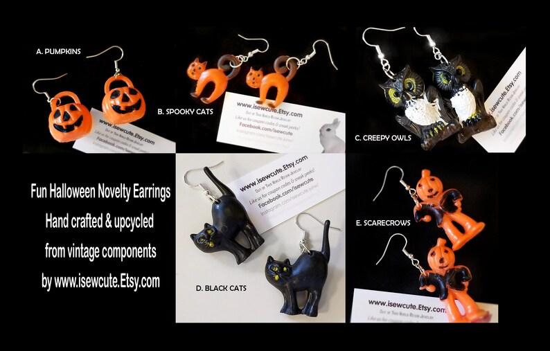 Halloween Novelty Earrings Vintage Halloween Upcycled Dangle image 0