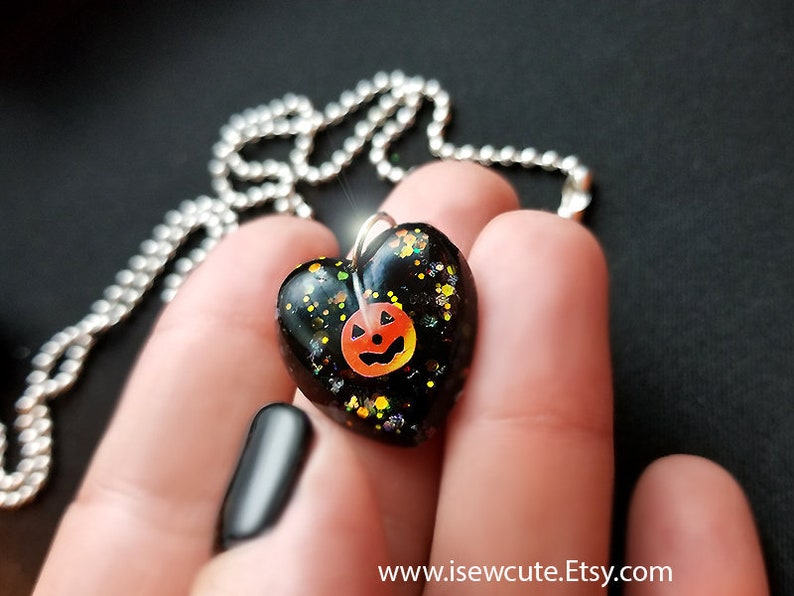 Kids Jewelry Halloween Necklace for Girl Small Heart Charm image 0