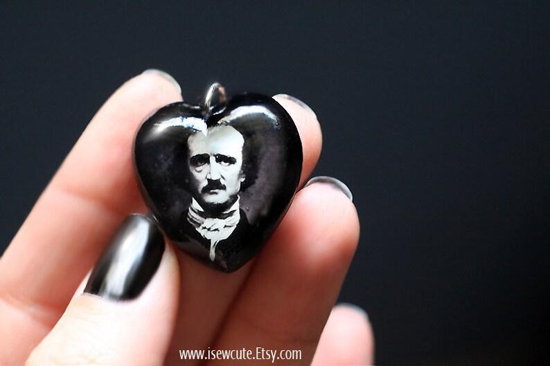 Edgar Allan Poe Necklace Halloween Anniversary Jewelry Poe image 0