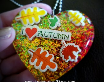 Jewelry, One of a Kind Resin Necklace, I Love Fall Thanksgiving Holiday Pendant, Fall Lovers Necklace Conversation Piece Created by isewcute