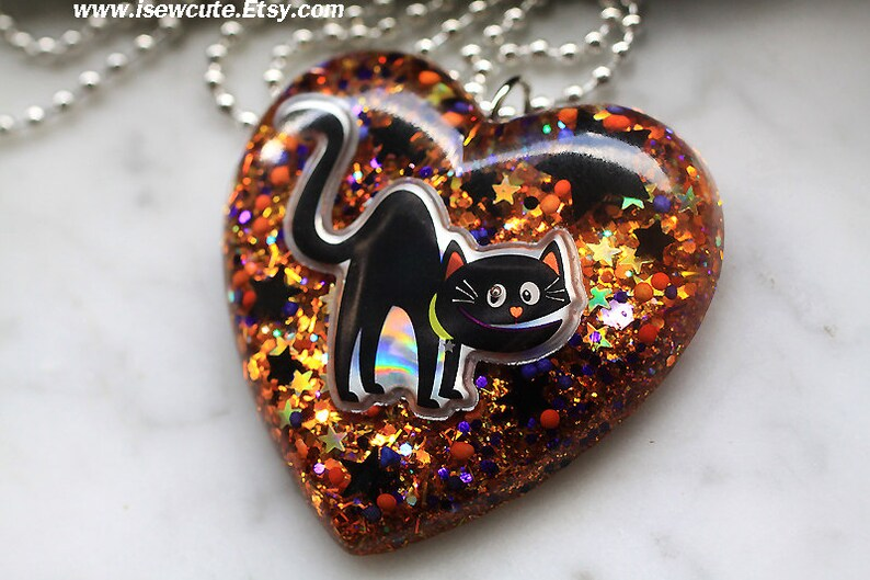 Halloween Jewelry Black Cat Necklace Halloween Spooky Cat image 0